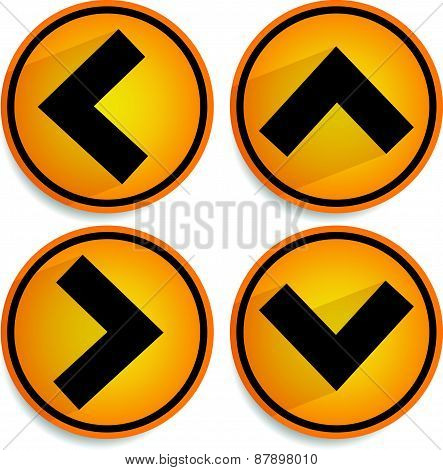 Orange, Yellow Arrows, Arrowheads Pointing Up, Down, Left And Right. Up, Down, Left Right Buttons, I