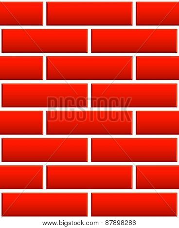 Repeatable Pattern Of Undamaged Brick Wall Texture With Regular Pattern, 3D Bevel Effect For Archite