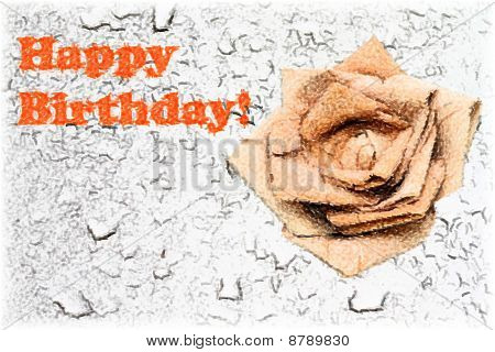 Birthday card with rose