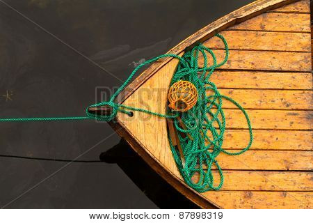 Fisherman Boat With Ropes And Float. Norway.