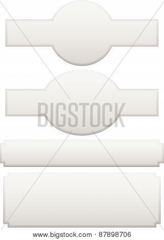 Set Of Different Plaque, Plaquette Shapes On White