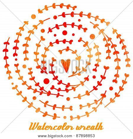 Vector Watercolor Hand Drawn Wreath With Branches, Leaves And Heart