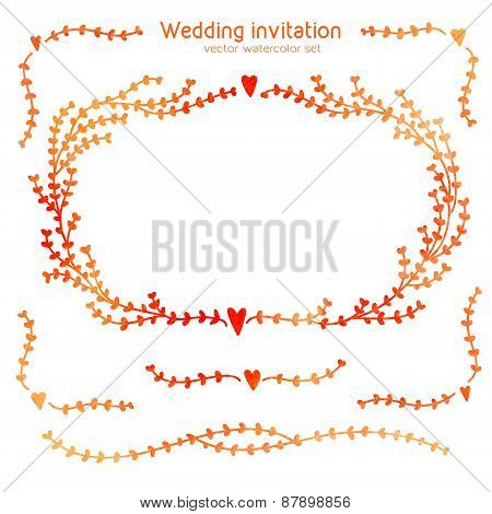 Vector Set Of Hand Drawn Watercolor Elements For Wedding Invitations And Valentine's Day Cards - Hea
