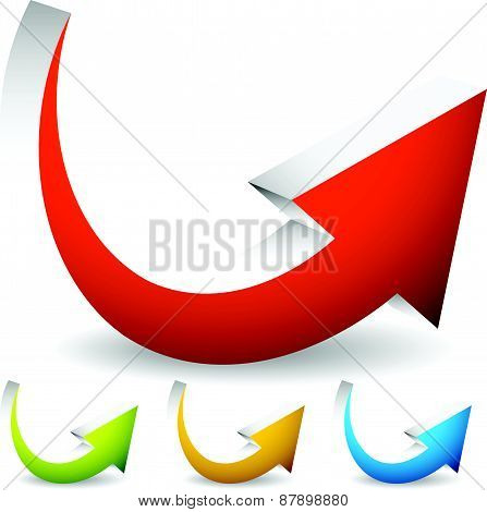 Curved, Bent Colorful Vector Arrow Elements Isolated On White. Eps 10