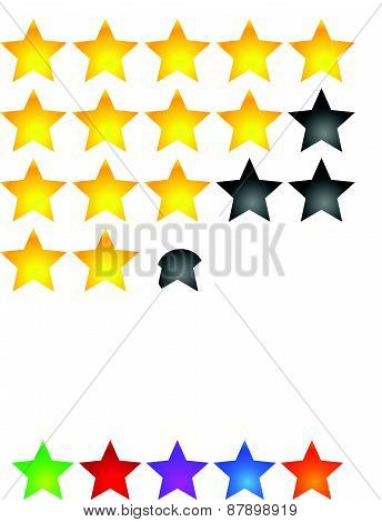 Star Rating Element. Star Rating System For Feedback, Value, Good-bad Experience, Customer Satisfact