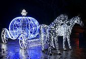 image of carriage horse  - Decorative carriage with horses decorated with lights - JPG
