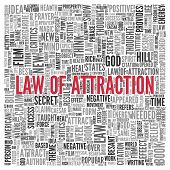 picture of laws-of-attraction  - Close up Red LAW OF ATTRACTION Text at the Center of Word Tag Cloud on White Background - JPG