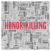 picture of kill  - Close up HONOR KILLING Text at the Center of Word Tag Cloud on White Background - JPG