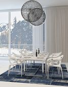 stock photo of light fixture  - Modern Dining Room with White Table and Chairs and Globe Light Fixtures and View of Snowy Mountains Through Windows - JPG