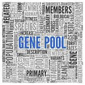 picture of gene  - Close up GENE POOL Text at the Center of Word Tag Cloud on White Background - JPG