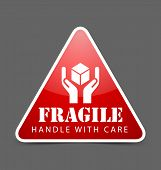 picture of fragile  - Glossy fragile icon isolated on dark grey background - JPG