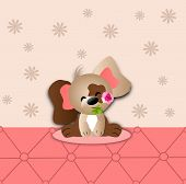 image of dog-rose  - Cute illustration of small dog with pink rose - JPG
