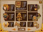 image of cleopatra  - Info screen for slots game - JPG