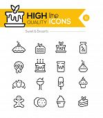 foto of donut  - Desserts and Pastries Line Icons including - JPG