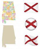 image of alabama  - High Detailed Alabama Map and Flag Icons - JPG