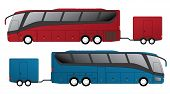picture of motor-bus  - Tourist bus design with attached trailer side view - JPG