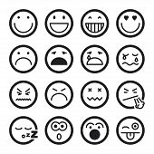 foto of angry smiley  - Set of black flat icons about smiley - JPG