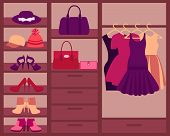 stock photo of wardrobe  - Wardrobe with women - JPG