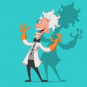 picture of scientist  - Mad scientist laughs ominously - JPG