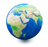 foto of earth  - Earth isolated on white background with soft shadow - JPG