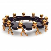 picture of efficiencies  - Teamwork business unity brainstorm process mans start turning black gear together - JPG