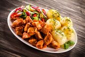 picture of boil  - Grilled meat with boiled potatoes and vegetables - JPG