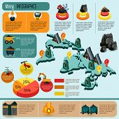 picture of minerals  - Mining industry infographics set with mineral extraction and production plants isometric elements and charts vector illustration - JPG
