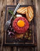 picture of tartar  - fresh beef tartar with egg - JPG
