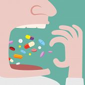 pic of throw up  - Close up of Man Throw a lot of pills in to his mouth - JPG