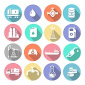 image of petroleum  - Oil industry drilling refining process petroleum transportation icons set with truck petroleum  tanker and pump flat isolated  illustration - JPG