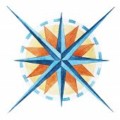pic of compass rose  - Beautiful vector image with nice watercolor wind rose compass - JPG