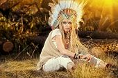 picture of indian beautiful people  - Fashion shot of a beautiful girl in style of the American Indians - JPG