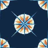 foto of wind-rose  - Beautiful vector pattern with nice watercolor wind rose - JPG