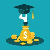 foto of coins  - Vector concept of investment in education with coins bag - JPG