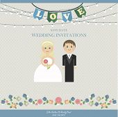stock photo of wedding  - Wedding Card Invitation with wedding figures newlyweds in  flat style - JPG