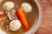 pic of penicillin  - home made matzoh ball soup with carrots and chicken - JPG