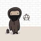 stock photo of spray can  - Cartoon of an anarchist and a can of spray in front of brick wall with anarchy sign - JPG