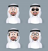 stock photo of arab man  - Set of 3D Dimension Arab Man in Different Professional and Business Man Characters and Avatars in traditional Cloths or Thobe Isolated in WHite Background - JPG