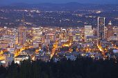 image of portland oregon  - Downtown Portland Oregon city lights blue hour panorama. ** Note: Visible grain at 100%, best at smaller sizes - JPG