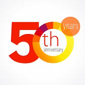pic of 50th  - Template logo 50th anniversary with a circle in the form of a graph and the number 5 in the middle - JPG