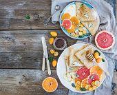stock photo of crepes  - Spring vitamin breakfast set - JPG