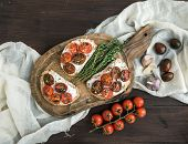 picture of tomato sandwich  - Sandwiches brushtta with roasted cherry tomatoes - JPG