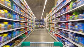 picture of grocery cart  - Shopping Cart View on a Supermarket Aisle and Shelves  - JPG