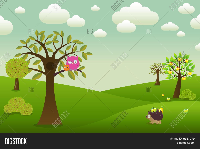 Vector Y Foto Paisaje De Dibujos Animados