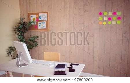 Creative office with cool wooden paneling with no one there