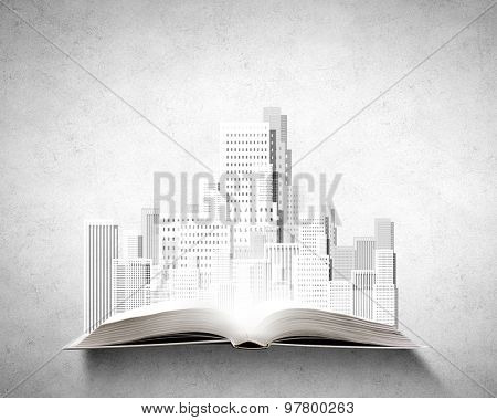 Opened book with construction project on pages