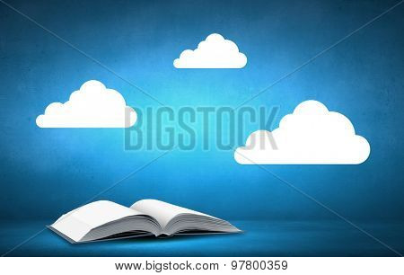 Opened book with speech bubble on blue background