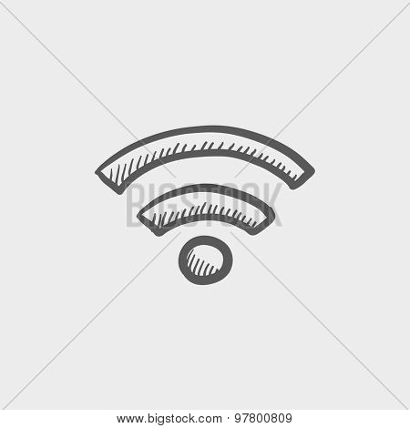 Wifi sketch icon for web and mobile. Hand drawn vector dark grey icon on light grey background.