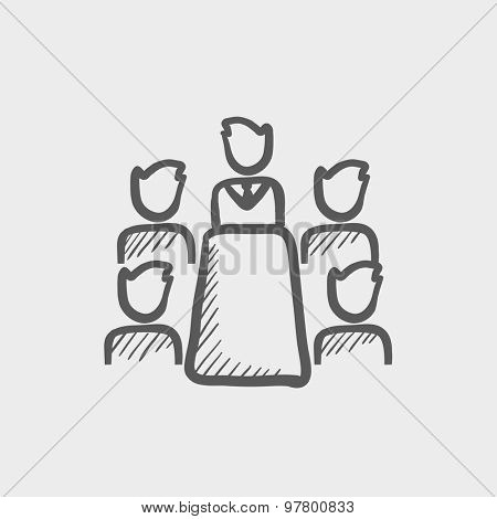 Business meeting in office sketch icon for web and mobile. Hand drawn vector dark grey icon on light grey background.