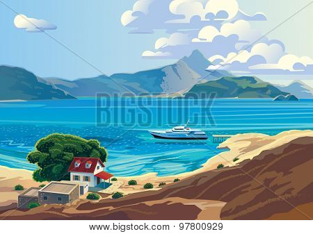 Seascape with yacht and countryside home. Presumably the Mediterranean.